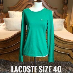 Lacoste Green Long Sleeve Tee Size 40